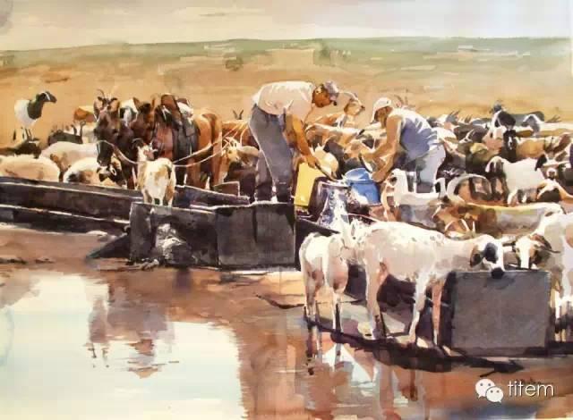 画家达. 巴图那顺水彩画作品分享 第11张