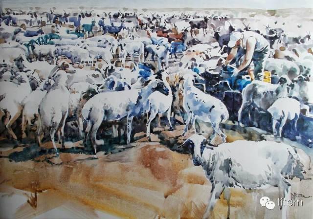 画家达. 巴图那顺水彩画作品分享 第15张