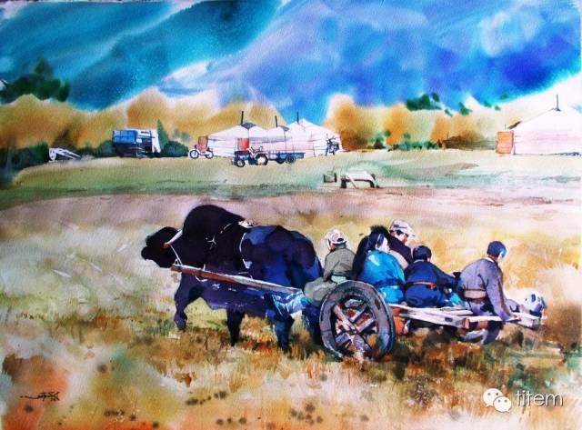 画家达. 巴图那顺水彩画作品分享 第12张