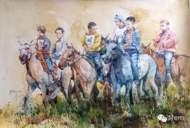 画家达. 巴图那顺水彩画作品分享 第14张