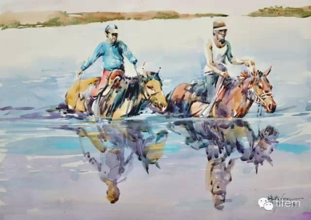 画家达. 巴图那顺水彩画作品分享 第23张