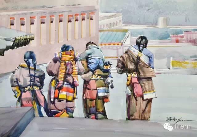 画家达. 巴图那顺水彩画作品分享 第30张
