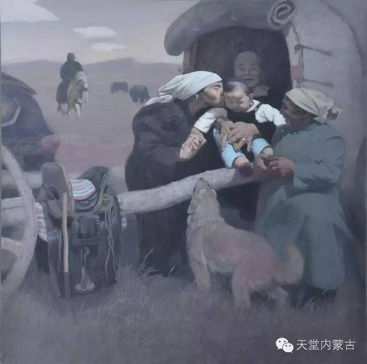 内蒙古油画家朝鲁门-油画作品 第6张