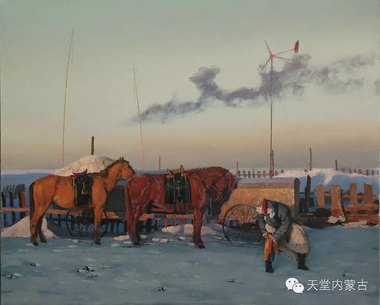 内蒙古油画家朝鲁门-油画作品 第9张