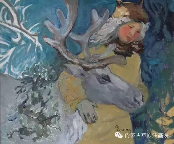 内蒙古草原油画院画家满都呼 第4张