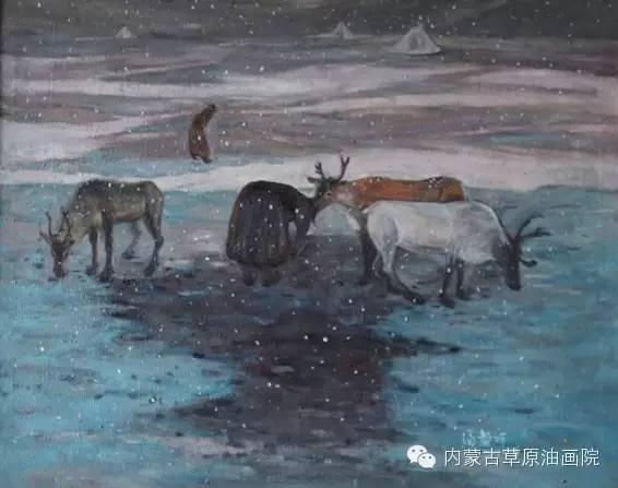 内蒙古草原油画院画家满都呼 第3张