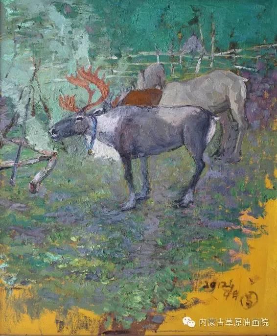 内蒙古草原油画院画家满都呼 第7张