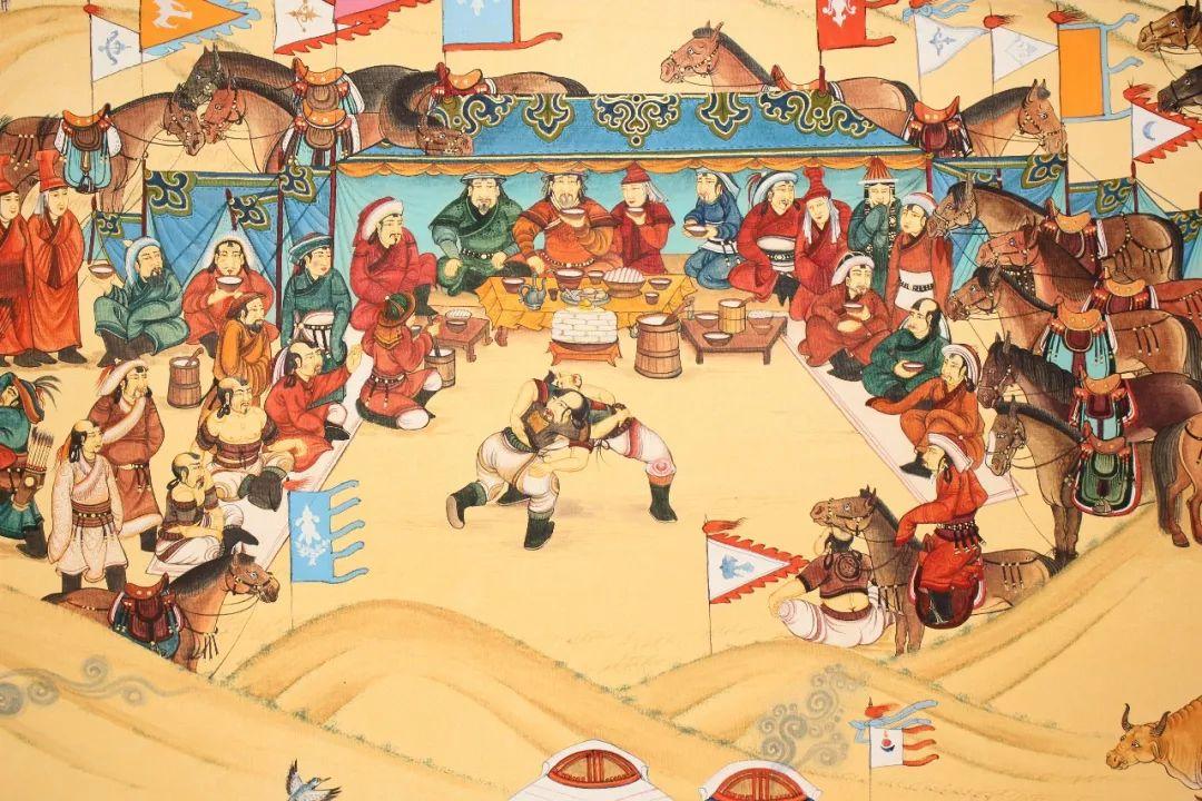 蒙古画《德都蒙古风情》一 第3张