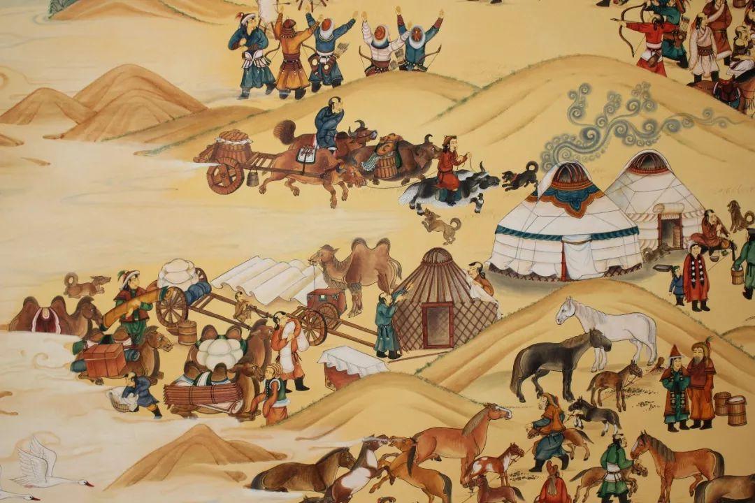 蒙古画《德都蒙古风情》一 第2张
