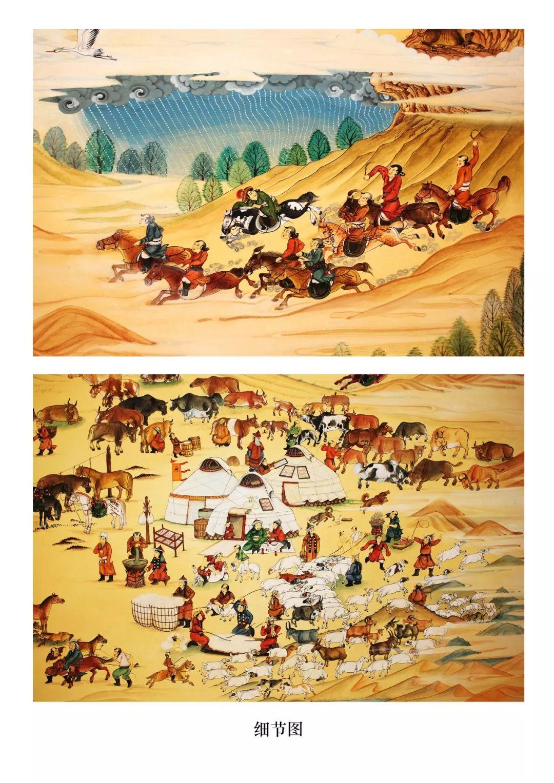 蒙古画《德都蒙古风情》一 第6张