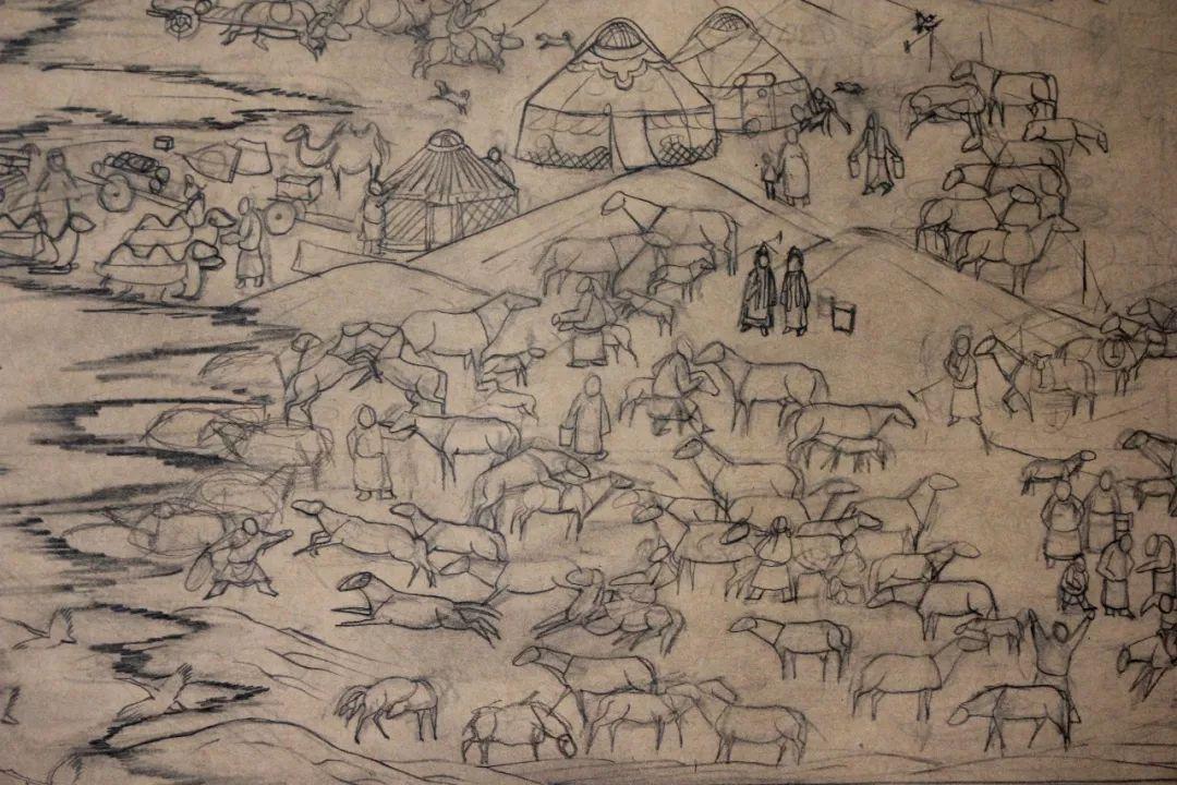 蒙古画《德都蒙古风情》一 第11张