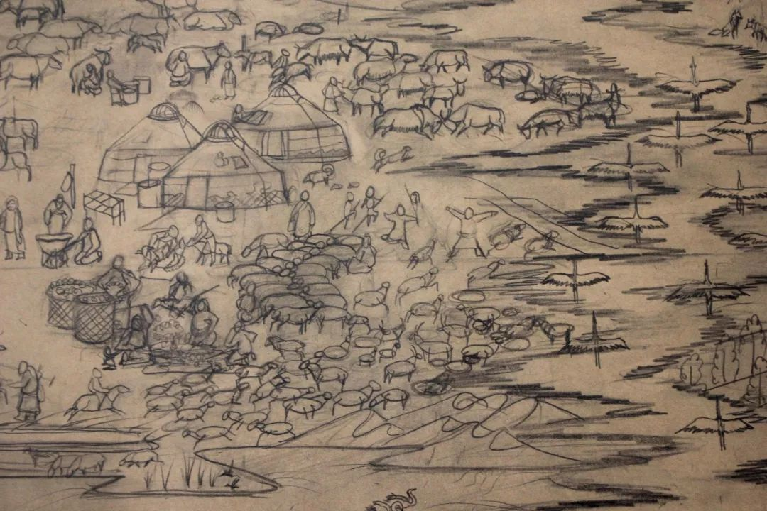 蒙古画《德都蒙古风情》一 第10张