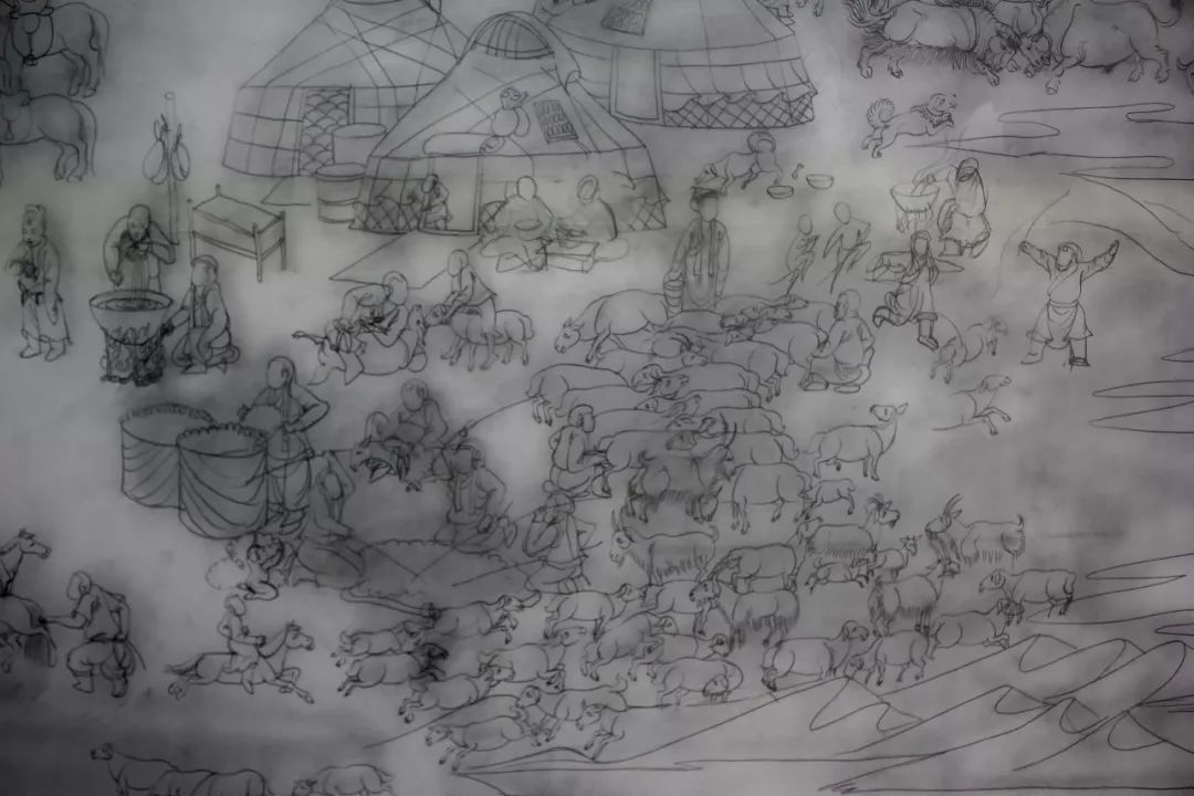 蒙古画《德都蒙古风情》一 第13张