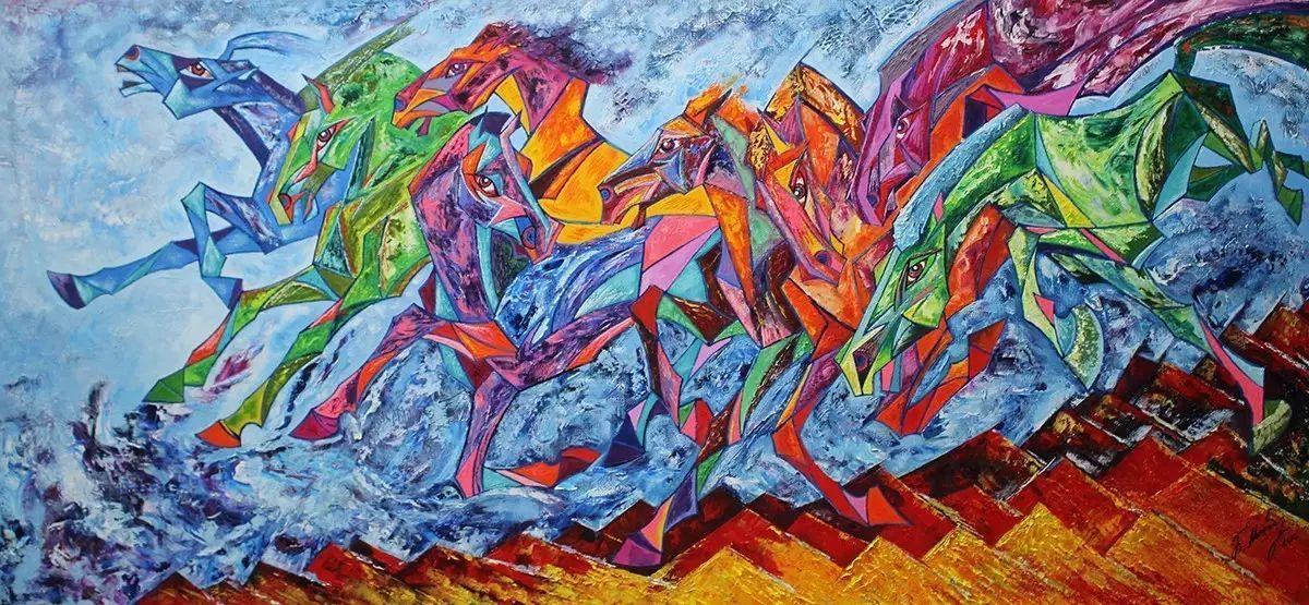 蒙古国文化艺术大学,优秀毕业生,作品以抽象夸张的拼色来呈现草原的