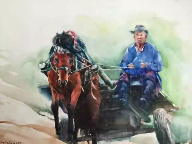 蒙古国水彩画作品赏析 第13张