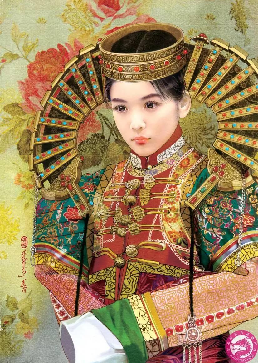 德珍笔下的 蒙古各部落 美女插画
