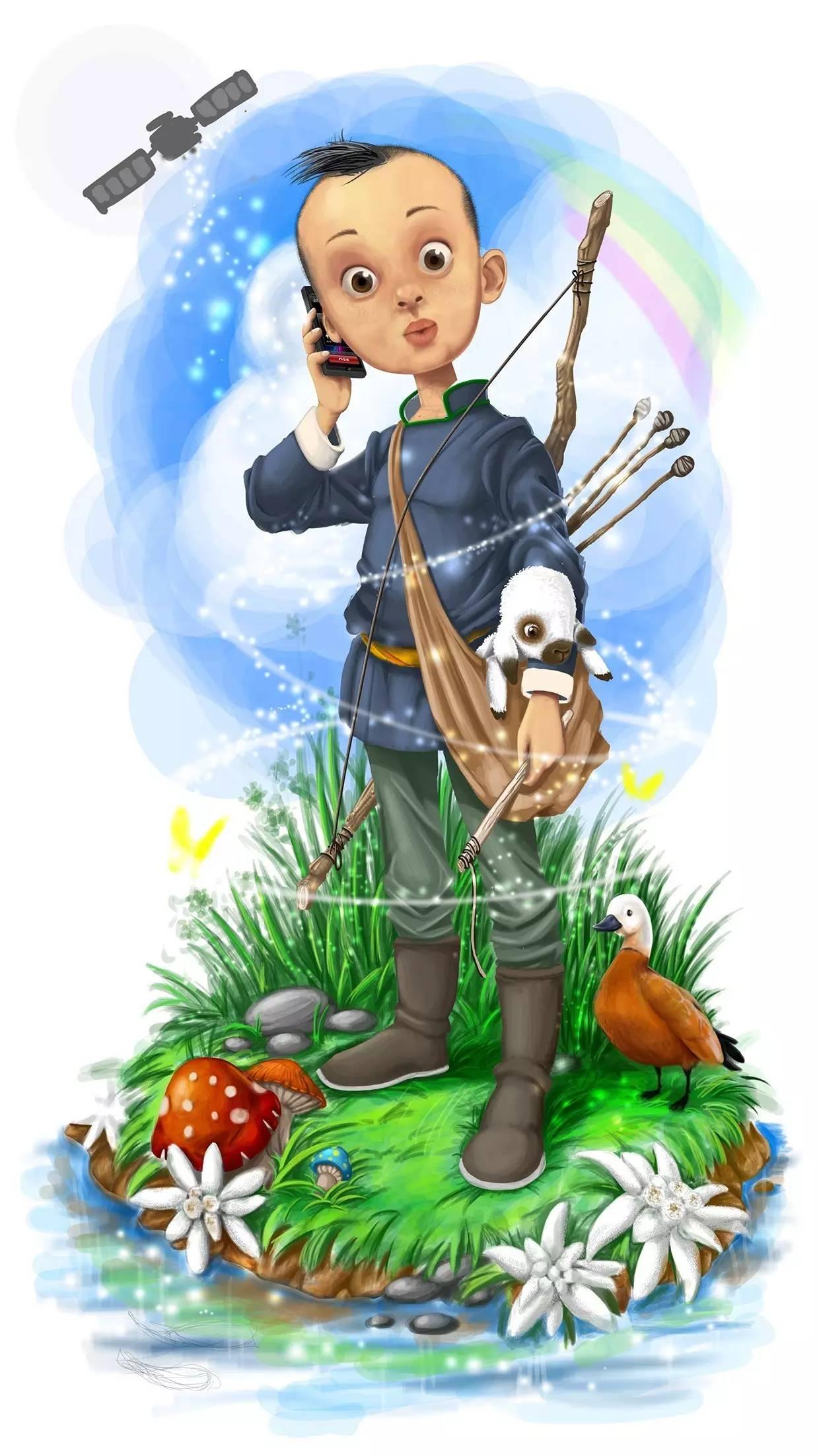 插画   enkhtur bayrsaikhan笔下的蒙古族小孩 第4张