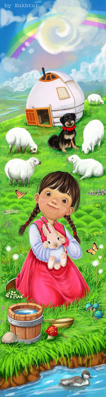 插画   enkhtur bayrsaikhan笔下的蒙古族小孩 第10张