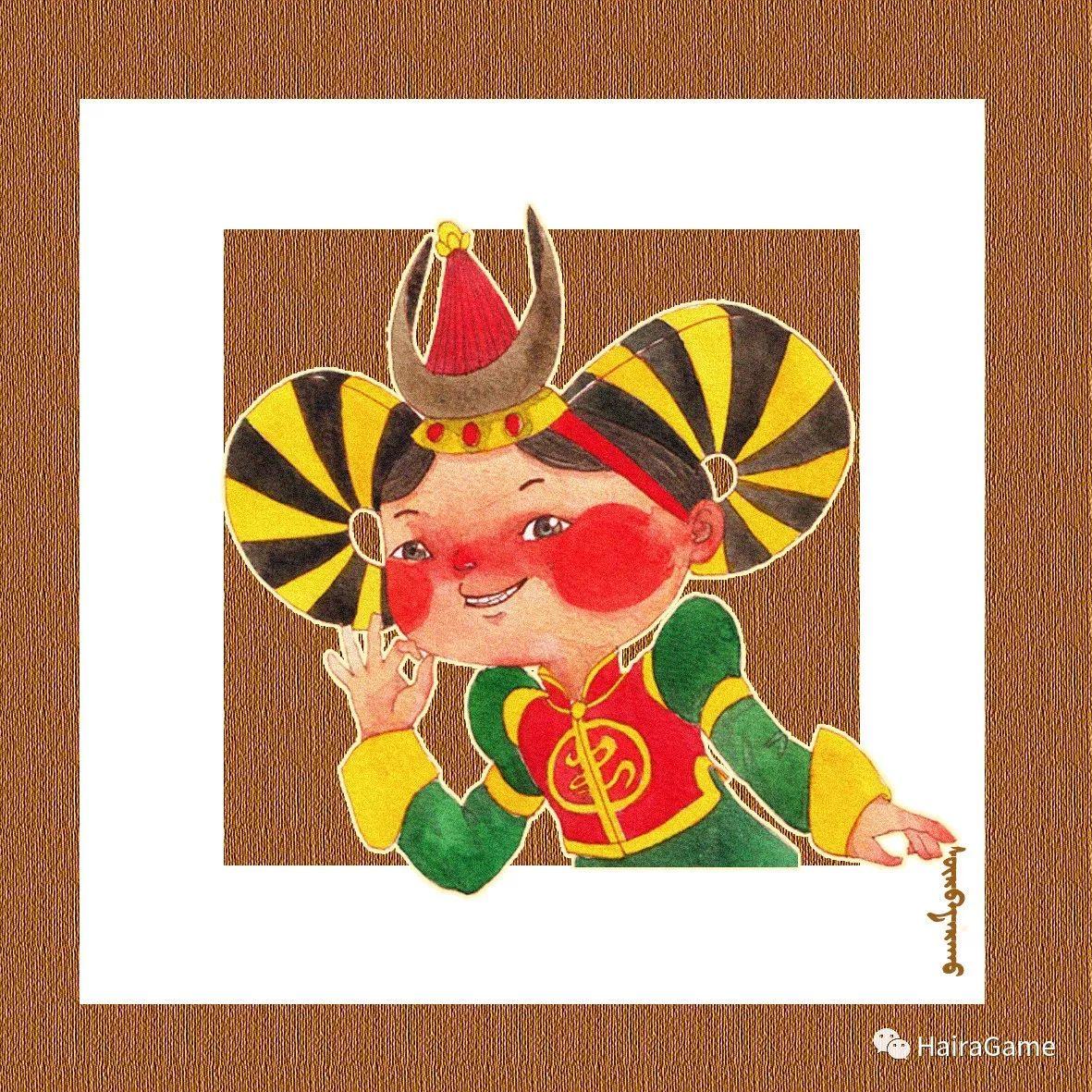 可爱的蒙古宝贝:诺敏和清赫尔·Surbadarah(原创插画) 第2张
