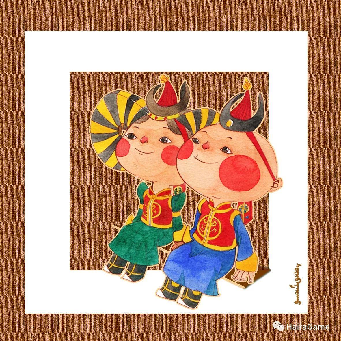 可爱的蒙古宝贝:诺敏和清赫尔·Surbadarah(原创插画) 第4张