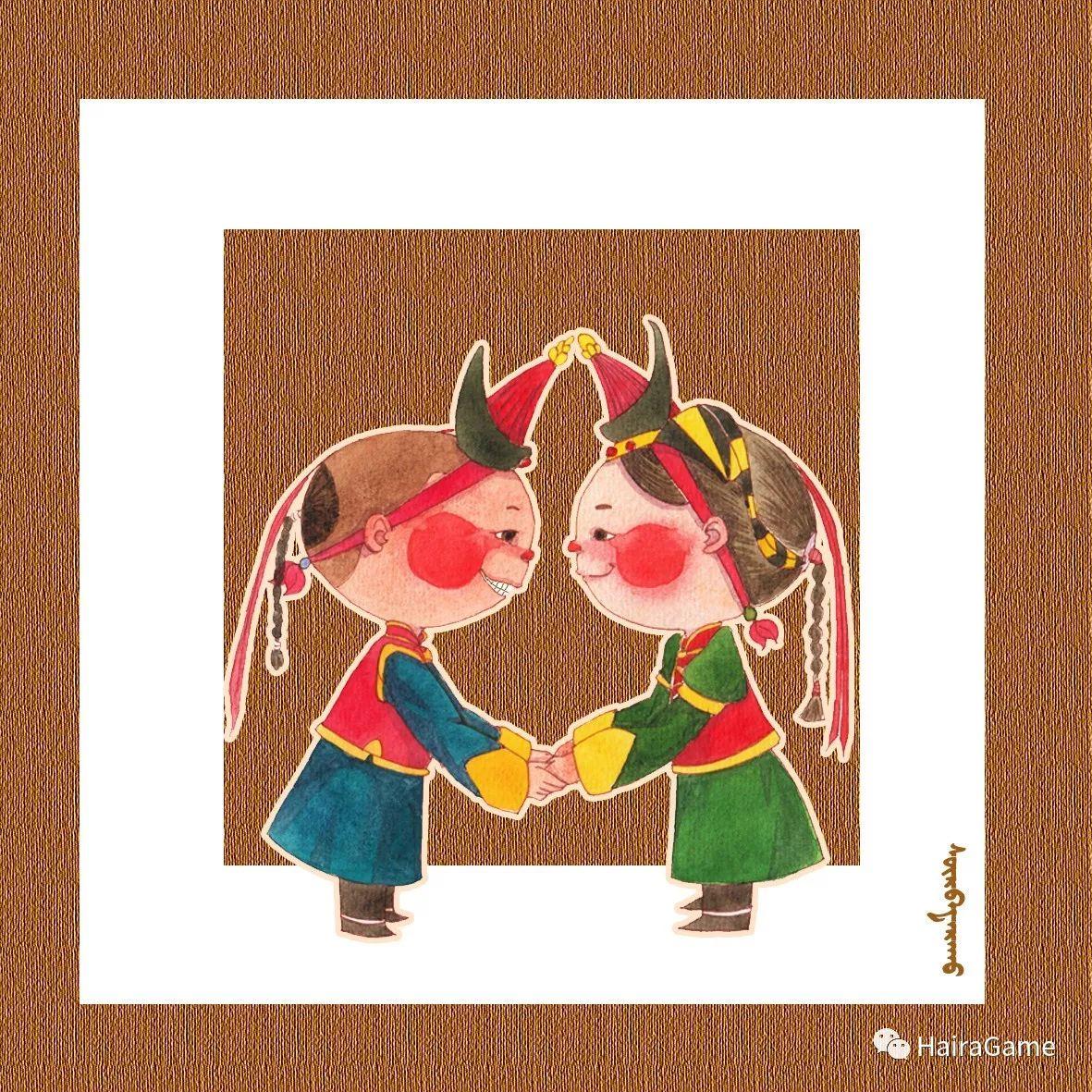 可爱的蒙古宝贝:诺敏和清赫尔·Surbadarah(原创插画) 第6张