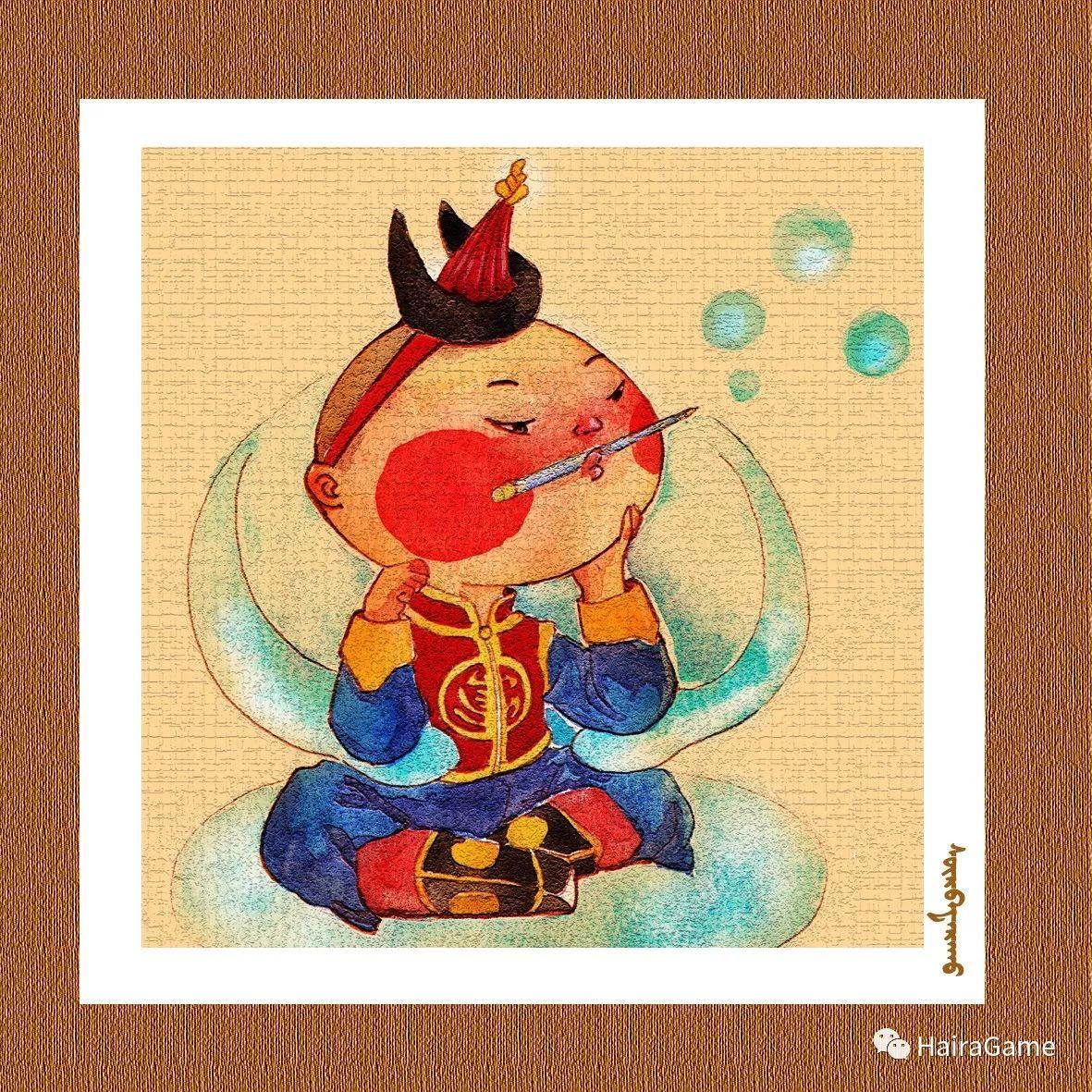 可爱的蒙古宝贝:诺敏和清赫尔·Surbadarah(原创插画) 第9张