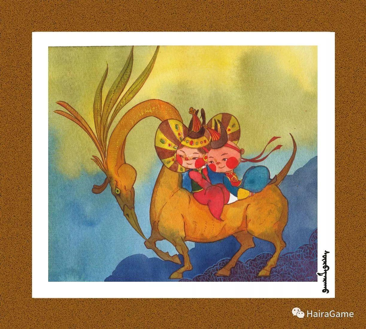 可爱的蒙古宝贝2:诺敏和清赫尔· Surbadarah(原创插画) 第1张