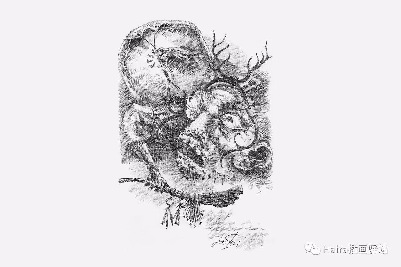 画作欣赏|达西·纳姆达科夫的素描作品 第3张