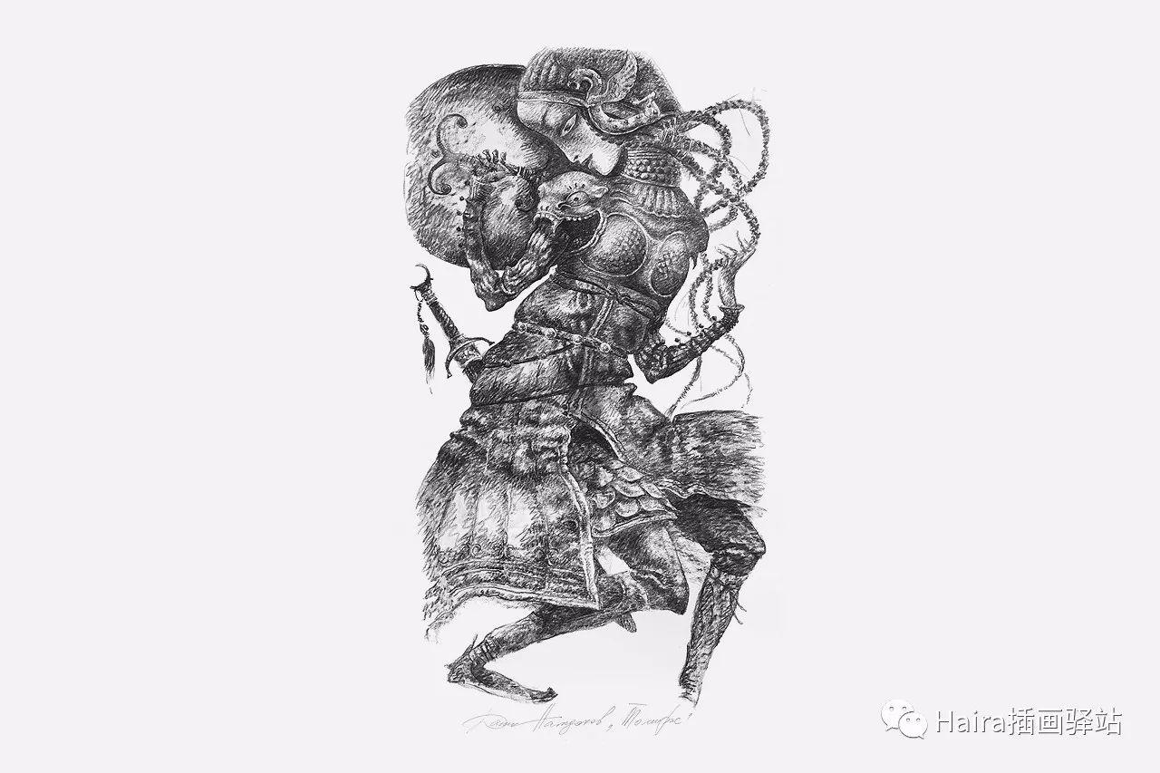 画作欣赏|达西·纳姆达科夫的素描作品 第2张