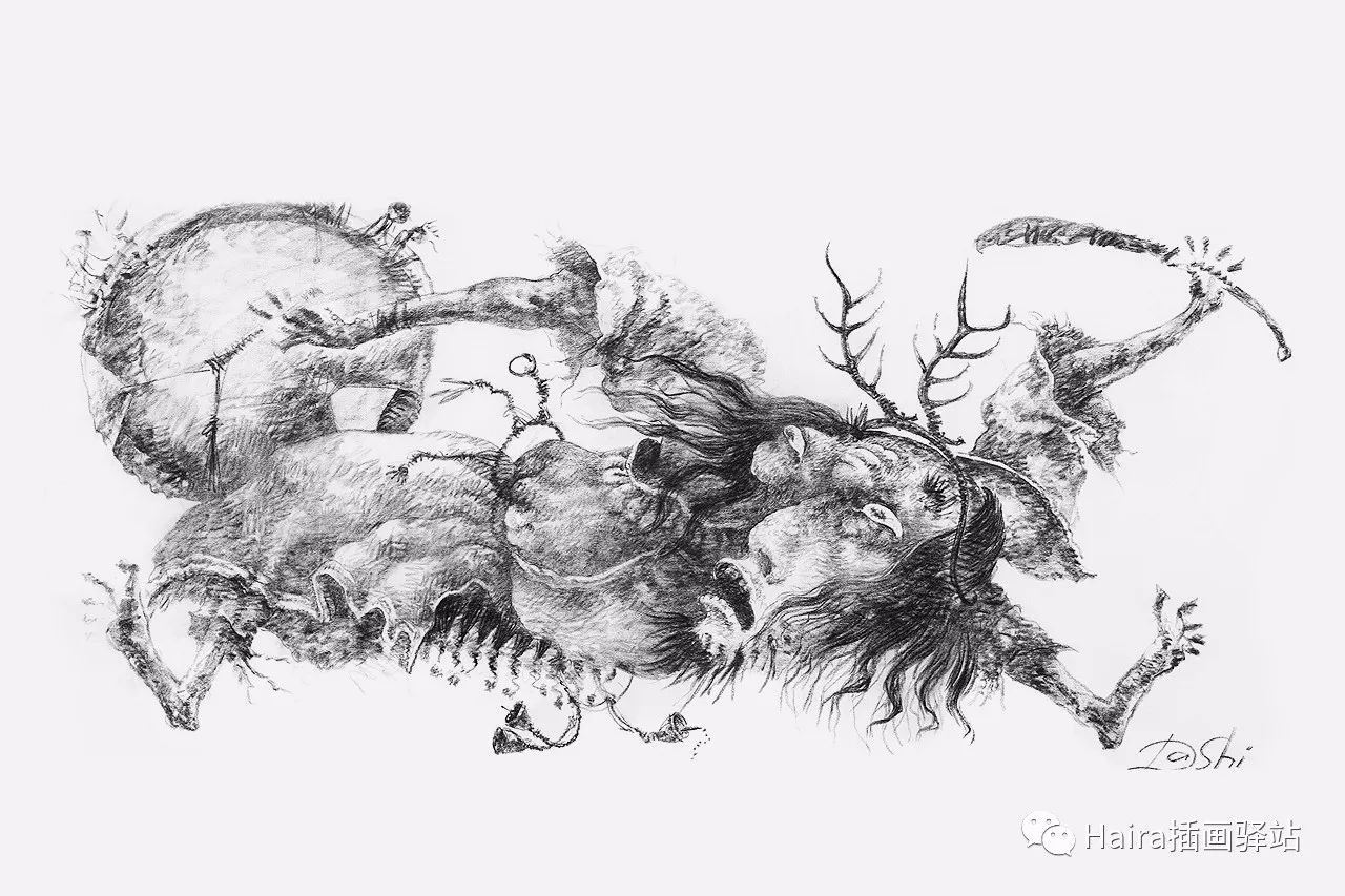 画作欣赏|达西·纳姆达科夫的素描作品 第6张