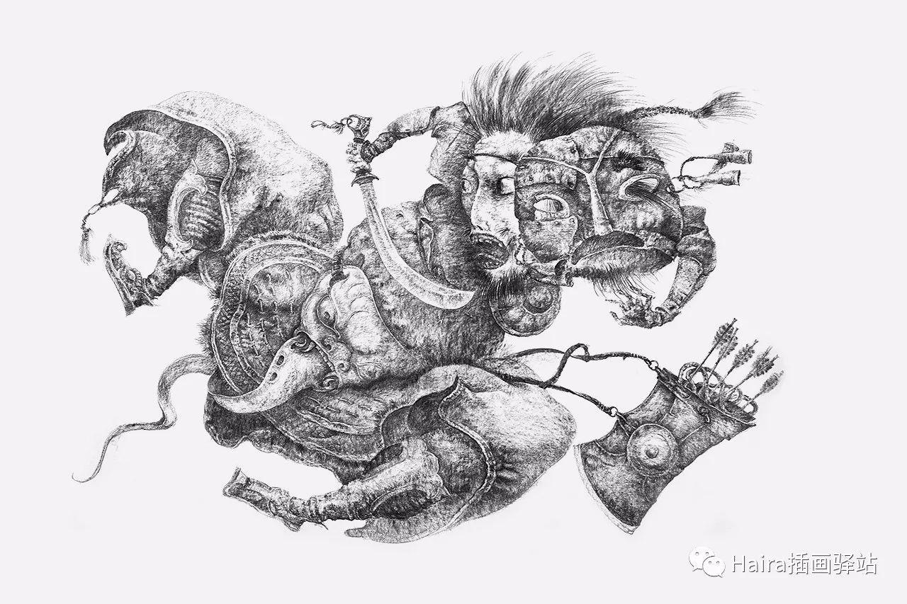 画作欣赏|达西·纳姆达科夫的素描作品 第7张