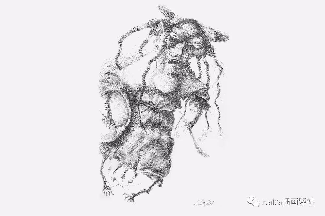 画作欣赏|达西·纳姆达科夫的素描作品 第12张