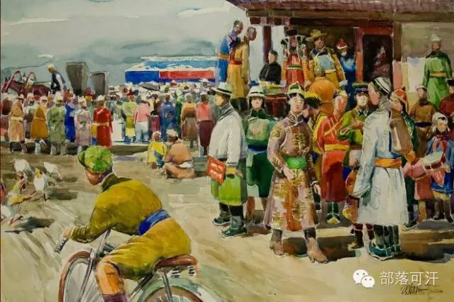 【经典】蒙古国上世纪绘画作品,那时的人那时的风景~ 第1张