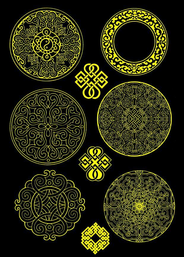 蒙古图案--圆形图案psd格式