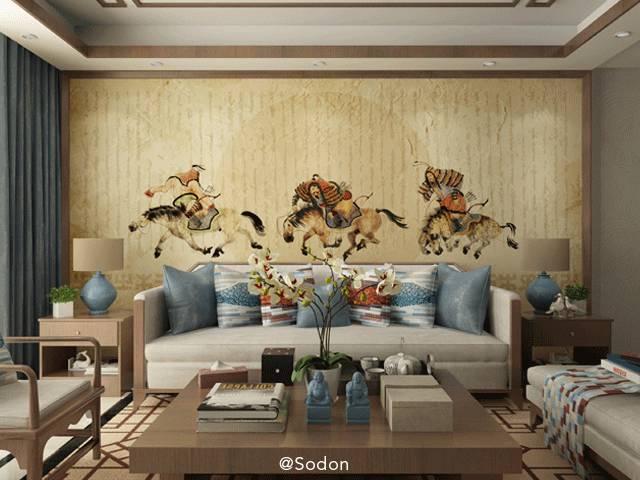 骐牧歌原创壁画,现代蒙古式风格背景墙 美到爆!