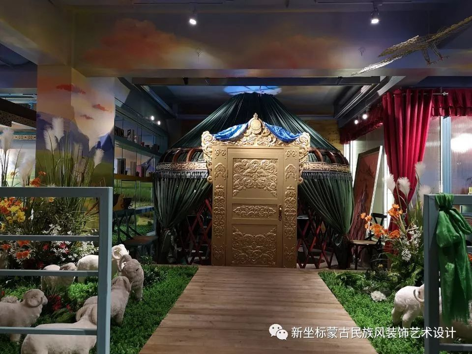 装饰公司效果图展示_蒙古包亲情餐厅_蒙古设计_蒙古元素