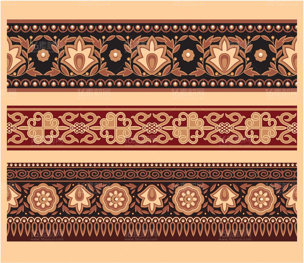 蒙古图案腰线素材eps