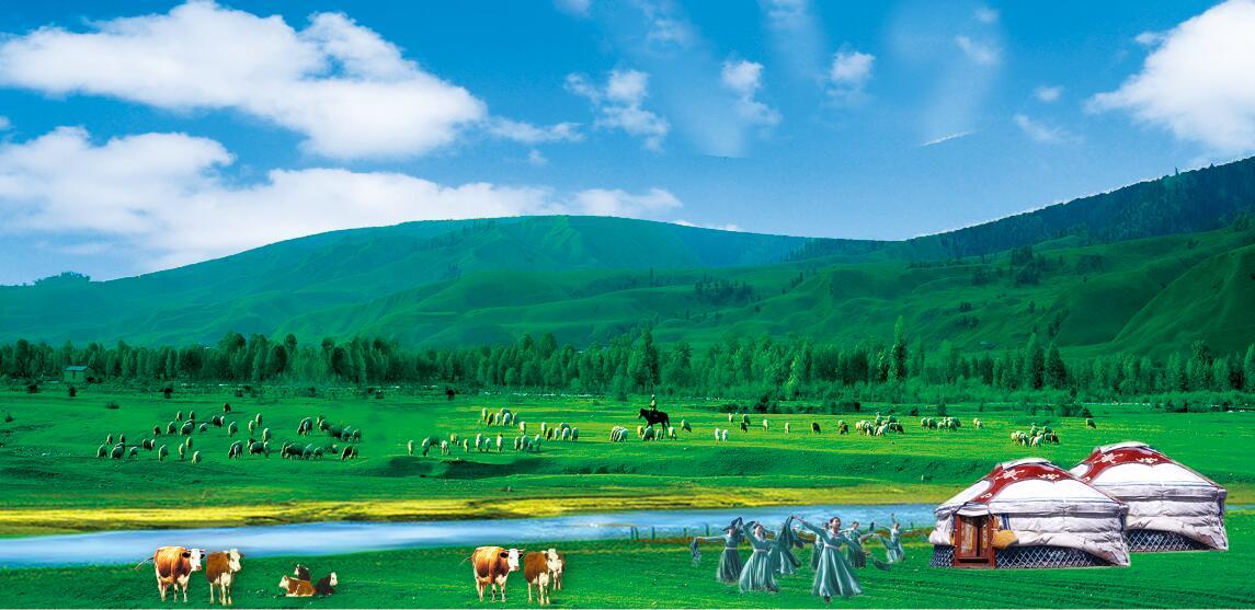 蓝天、草原、跳舞、蒙古包(psd)