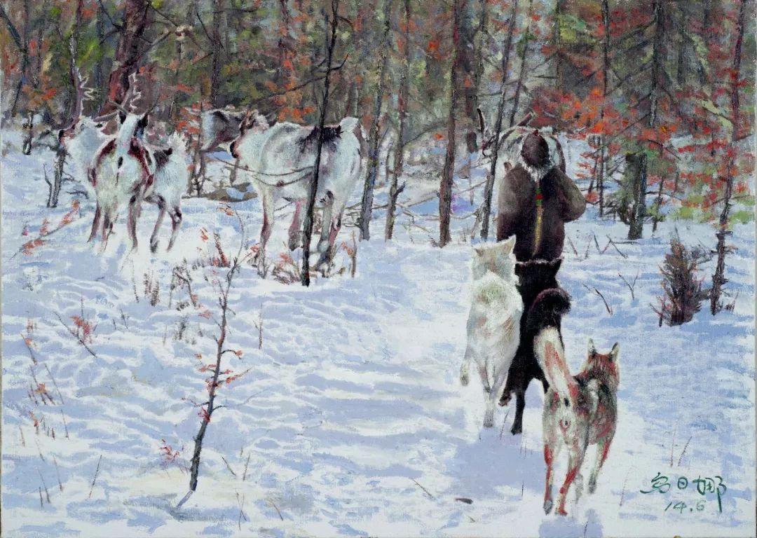 【赏析】心灵深处的绿色草原 ——蒙古族画家乌日娜的油画 第1张