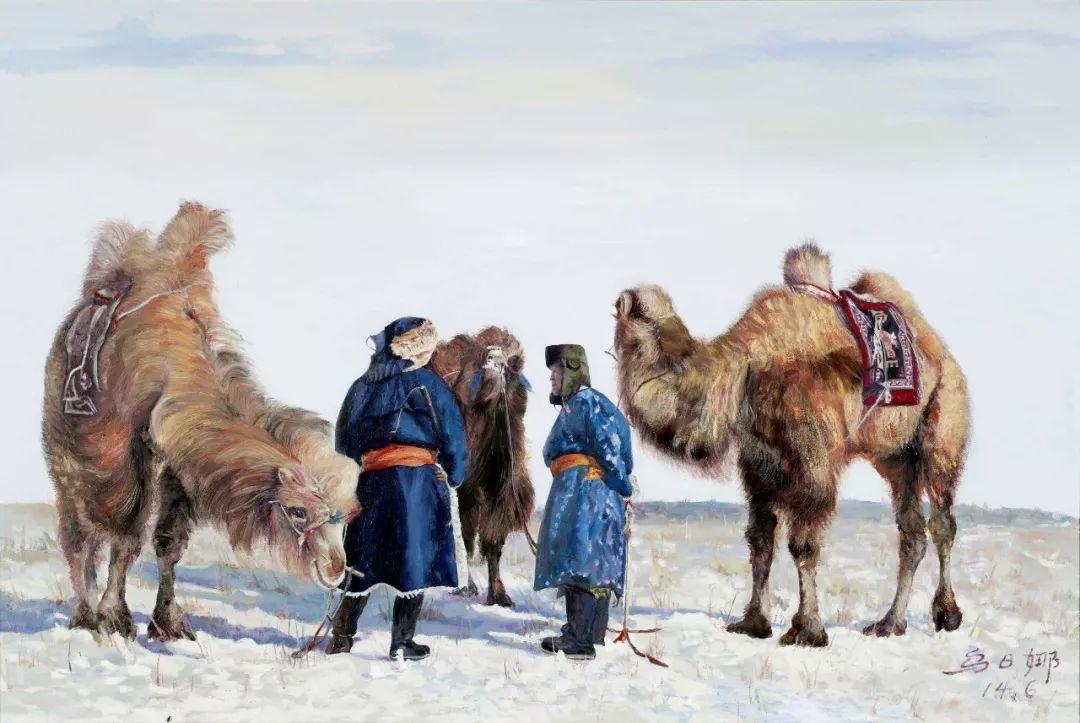 【赏析】心灵深处的绿色草原 ——蒙古族画家乌日娜的油画 第6张