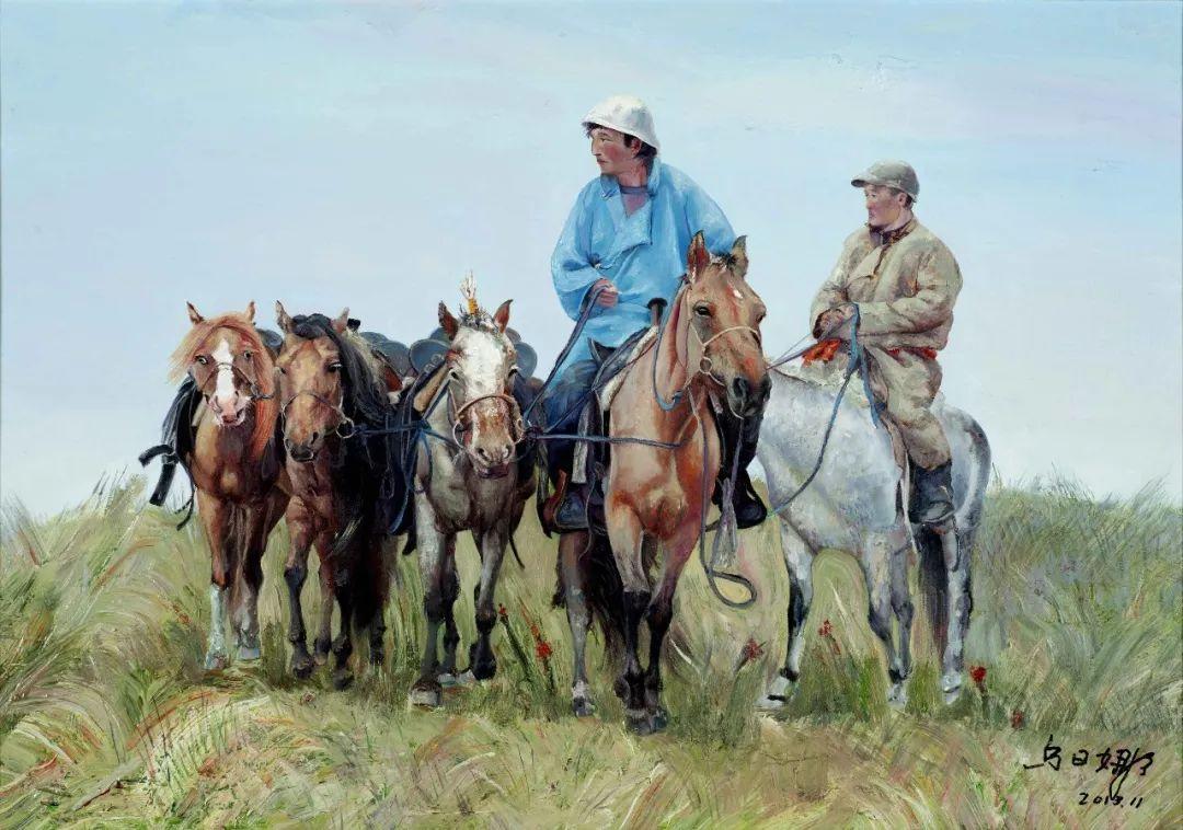 【赏析】心灵深处的绿色草原 ——蒙古族画家乌日娜的油画 第4张