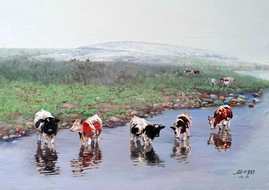 【赏析】心灵深处的绿色草原 ——蒙古族画家乌日娜的油画 第5张