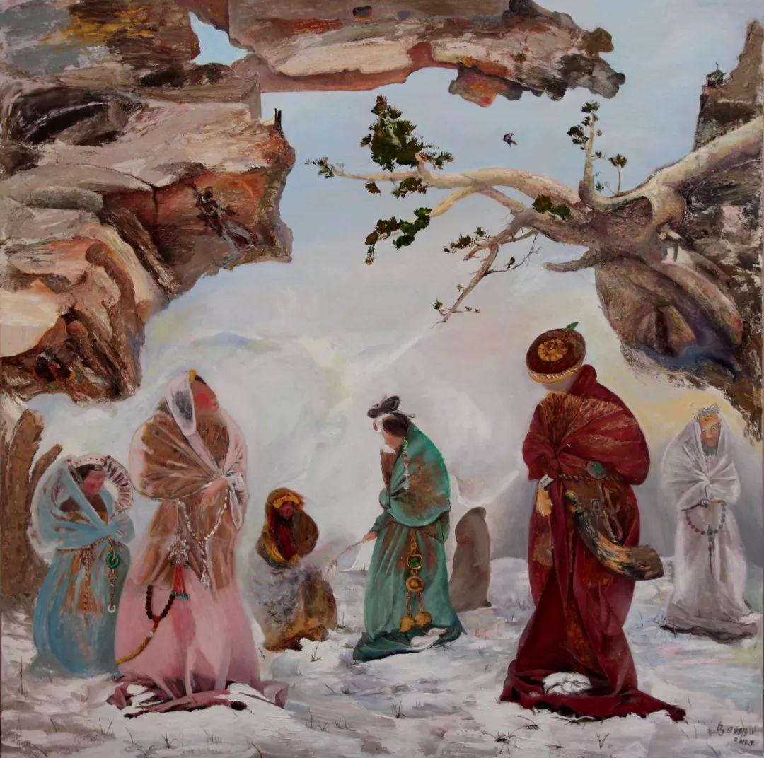 【赏析】心灵深处的绿色草原 ——蒙古族画家乌日娜的油画 第9张
