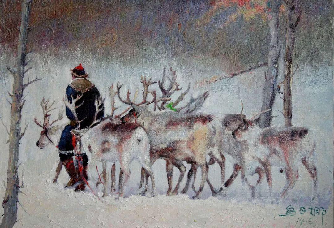 【赏析】心灵深处的绿色草原 ——蒙古族画家乌日娜的油画 第7张