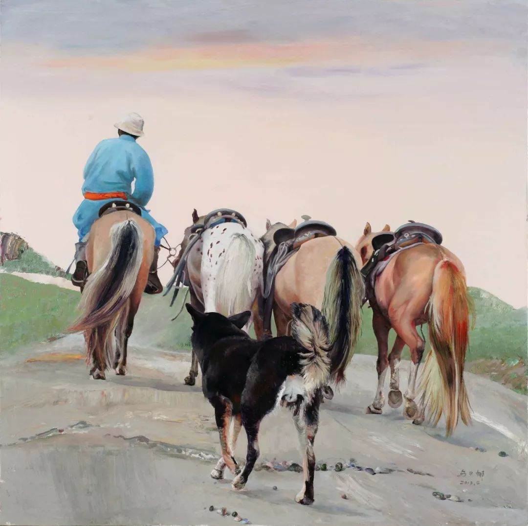 【赏析】心灵深处的绿色草原 ——蒙古族画家乌日娜的油画 第12张