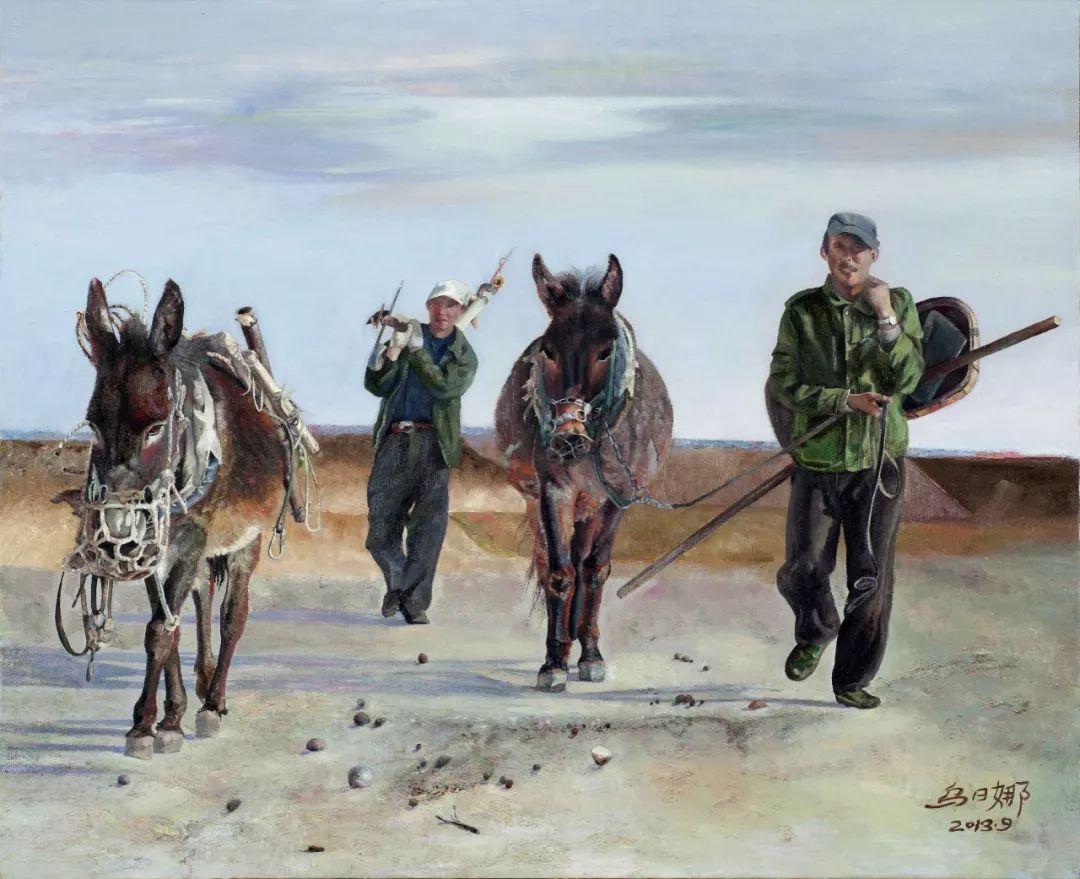 【赏析】心灵深处的绿色草原 ——蒙古族画家乌日娜的油画 第13张