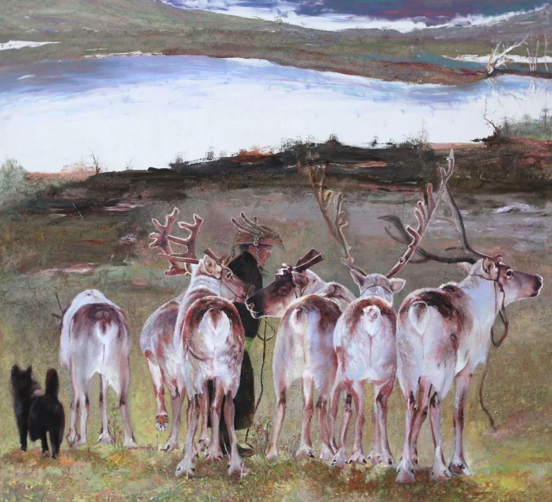 【赏析】心灵深处的绿色草原 ——蒙古族画家乌日娜的油画 第14张