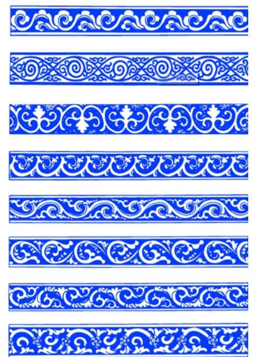 蒙古植物形状边框图案