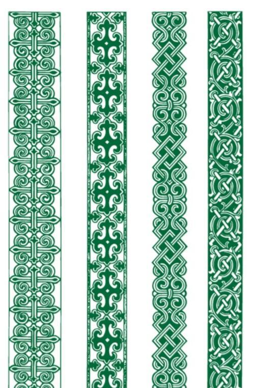 蒙古族绿色腰线矢量素材4