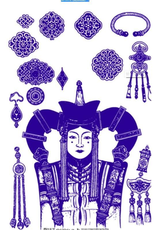 蒙古头饰装饰品图案3 第1张